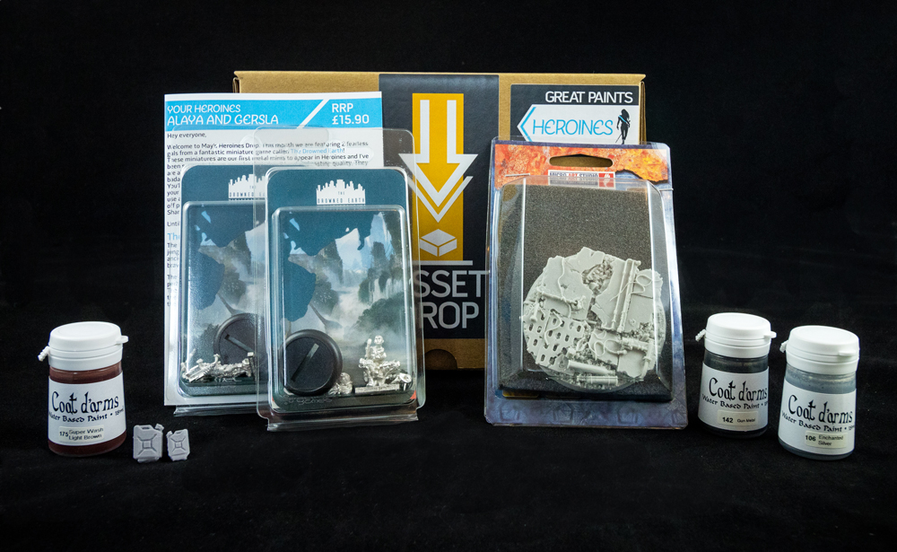 Asset Drop monthly subscription for miniature painters unboxing heroines may
