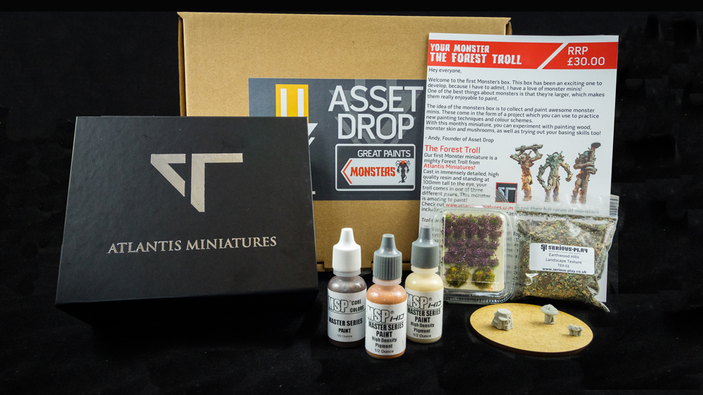 Asset Drop monthly subscription for miniature painters unboxing may monsters box