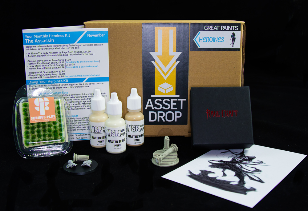 Asset Drop monthly subscription for miniature painters unboxing heroines november