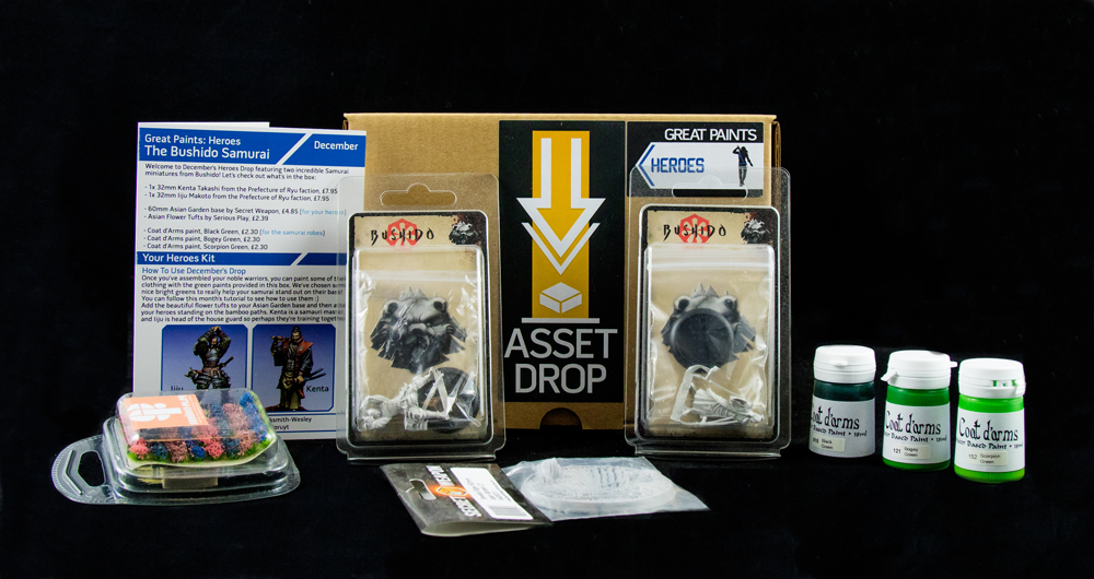 Asset Drop monthly subscription for miniature painters unboxing heroes december