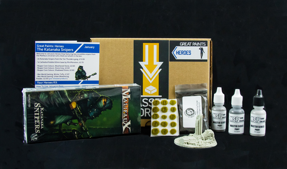Asset Drop monthly subscription for miniature painters unboxing heroes january