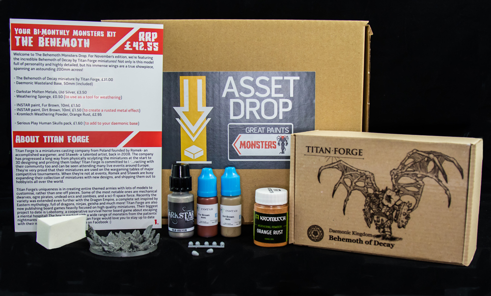 Asset Drop monthly subscription for miniature painters unboxing november monsters box