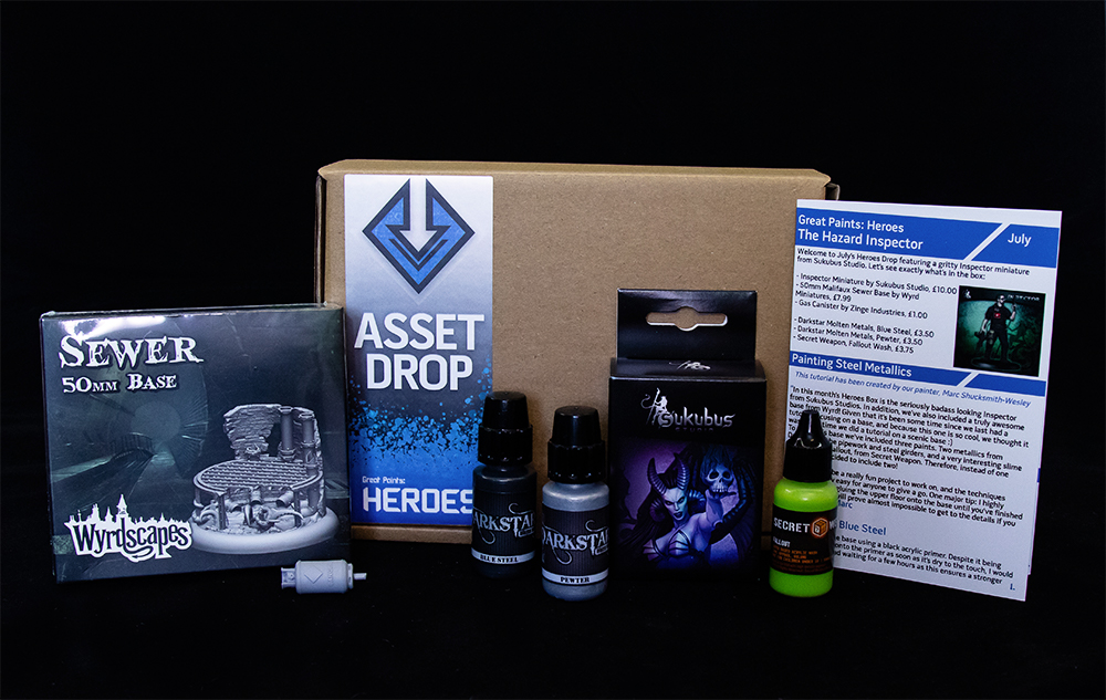 Asset Drop monthly subscription for miniature painters unboxing heroes july