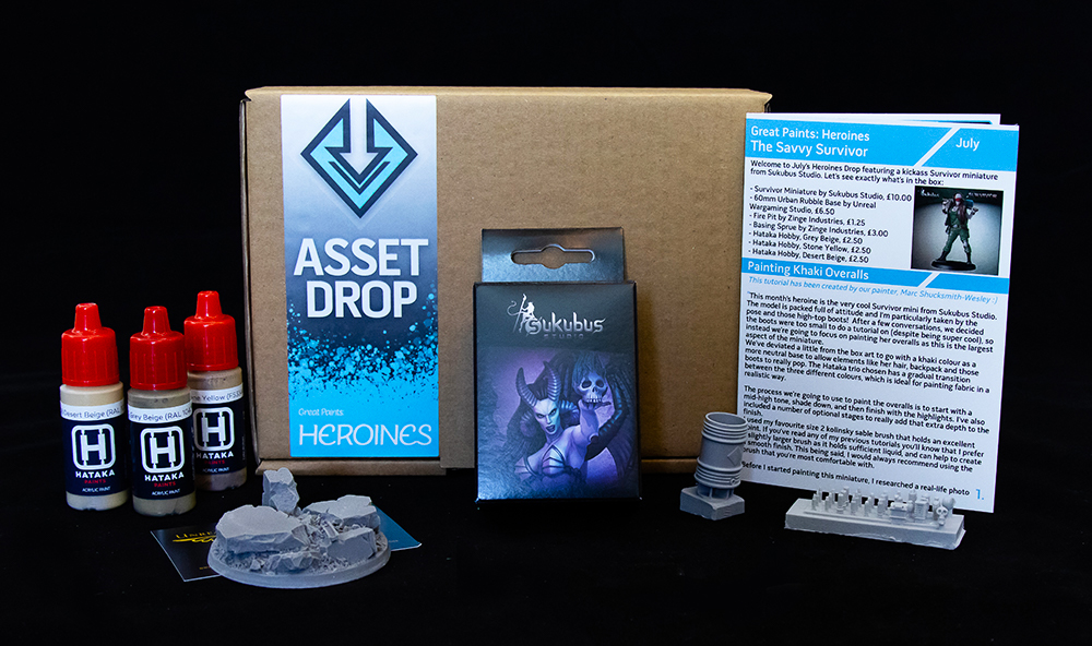 Asset Drop monthly subscription for miniature painters unboxing heroines july