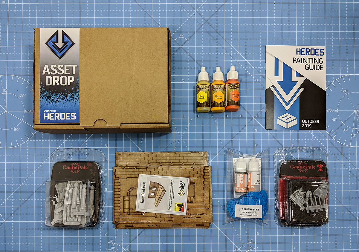 Asset Drop monthly subscription for miniature painters unboxing heroes october