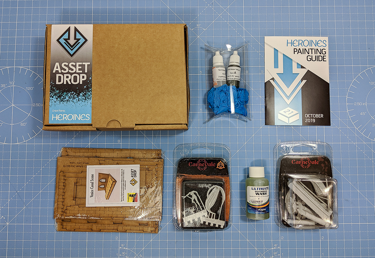 Asset Drop monthly subscription for miniature painters unboxing heroines october